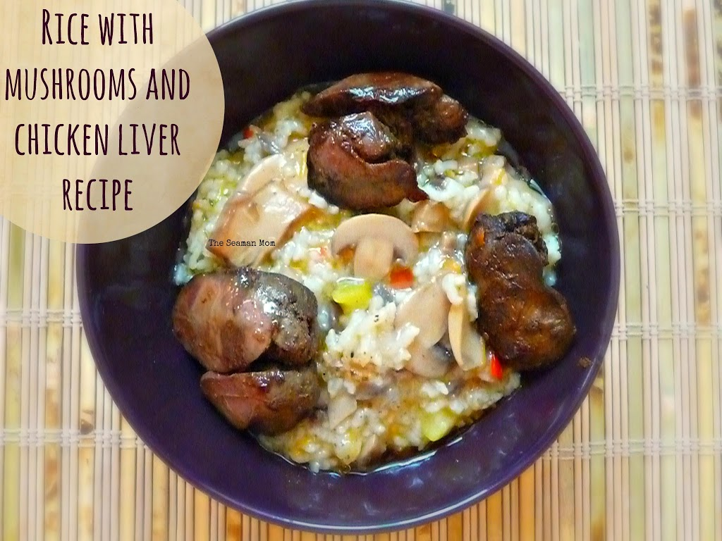 Rice with mushrooms and chicken liver recipe image