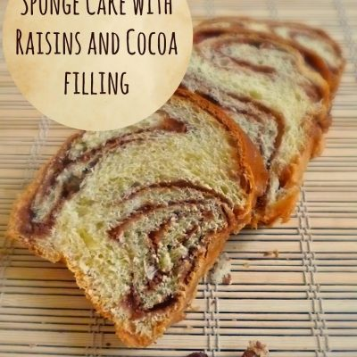 Sponge cake with raisins and cocoa filling