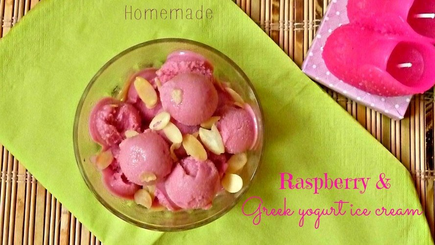 Homemade Raspberry Greek yogurt ice cream