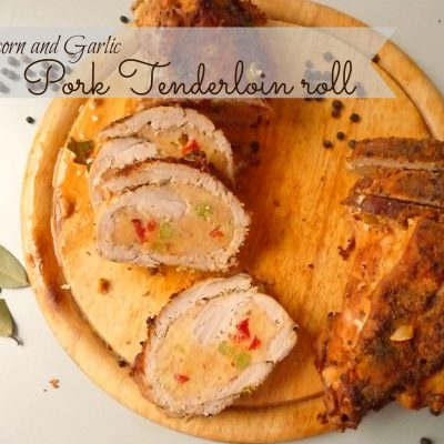 Peppercorn and Garlic Pork Tenderloin roll with peas