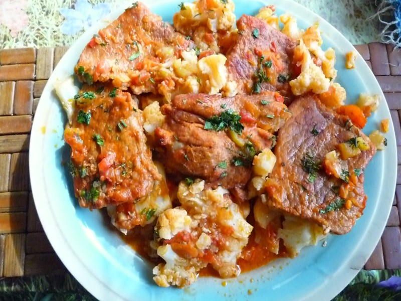 Cauliflower and pork tenderloin