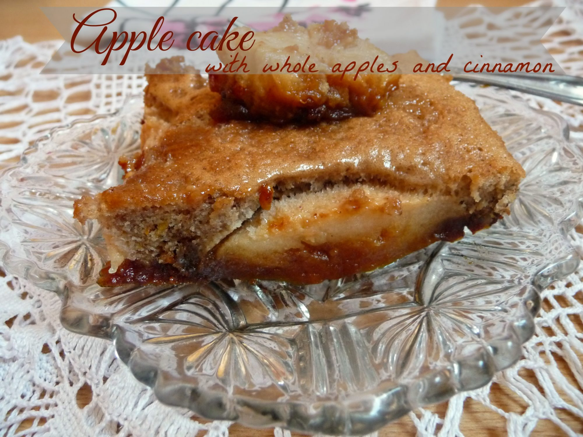 Apple cake with whole apples