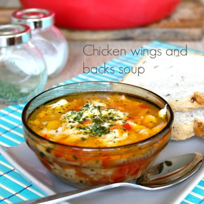 Chicken soup made with chicken wings and backs