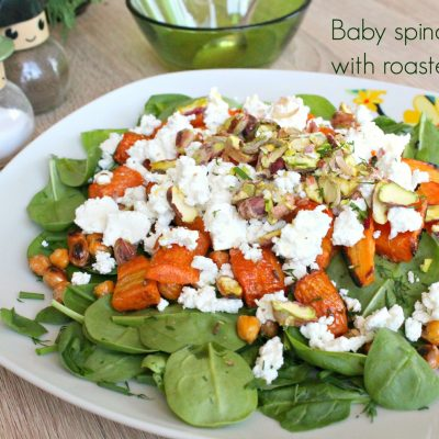 Roasted carrots and Baby Spinach salad with Chickpeas, Feta and Pistachios