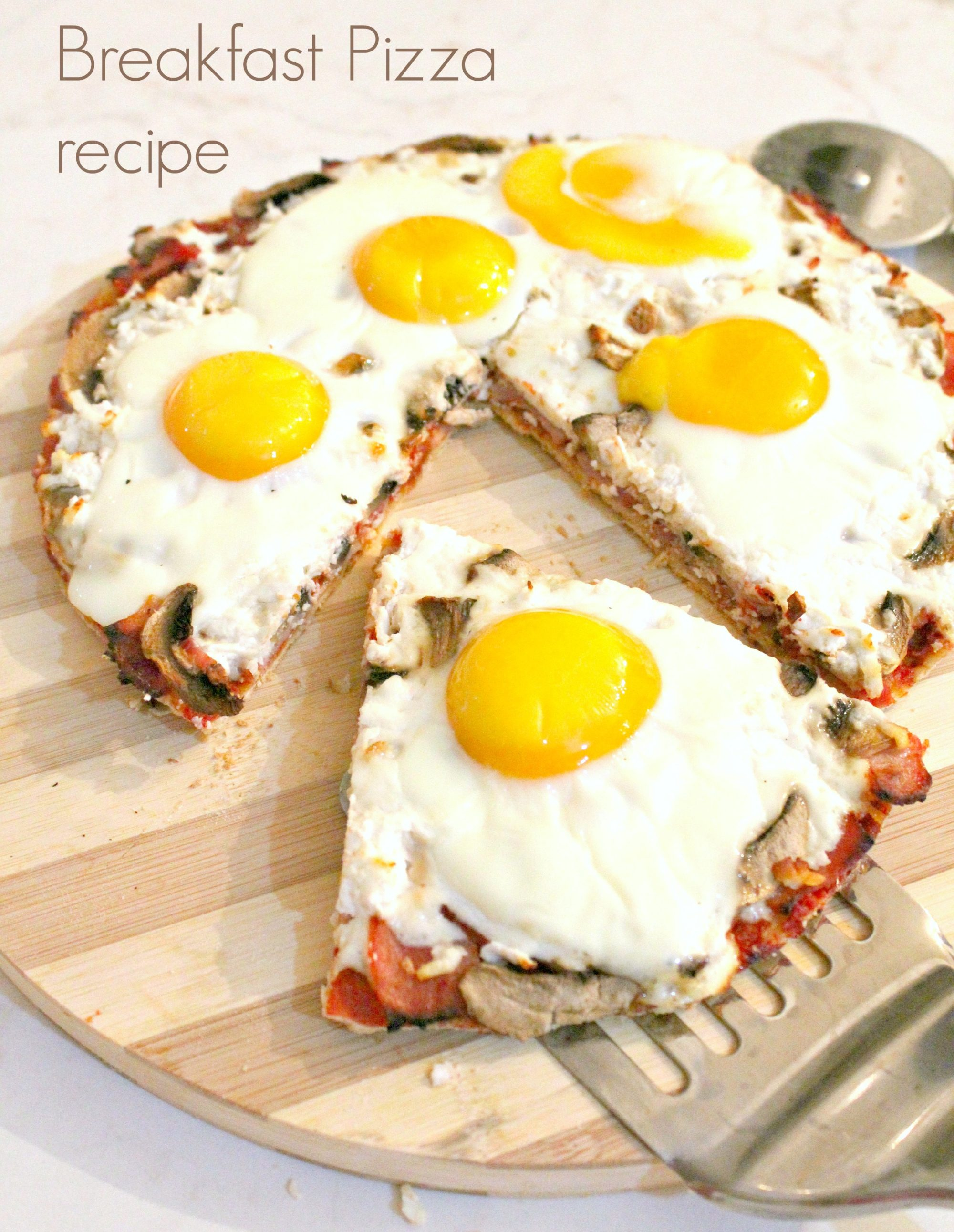 Breakfast pizza with egg, ham and cheese - The Seaman Mom
