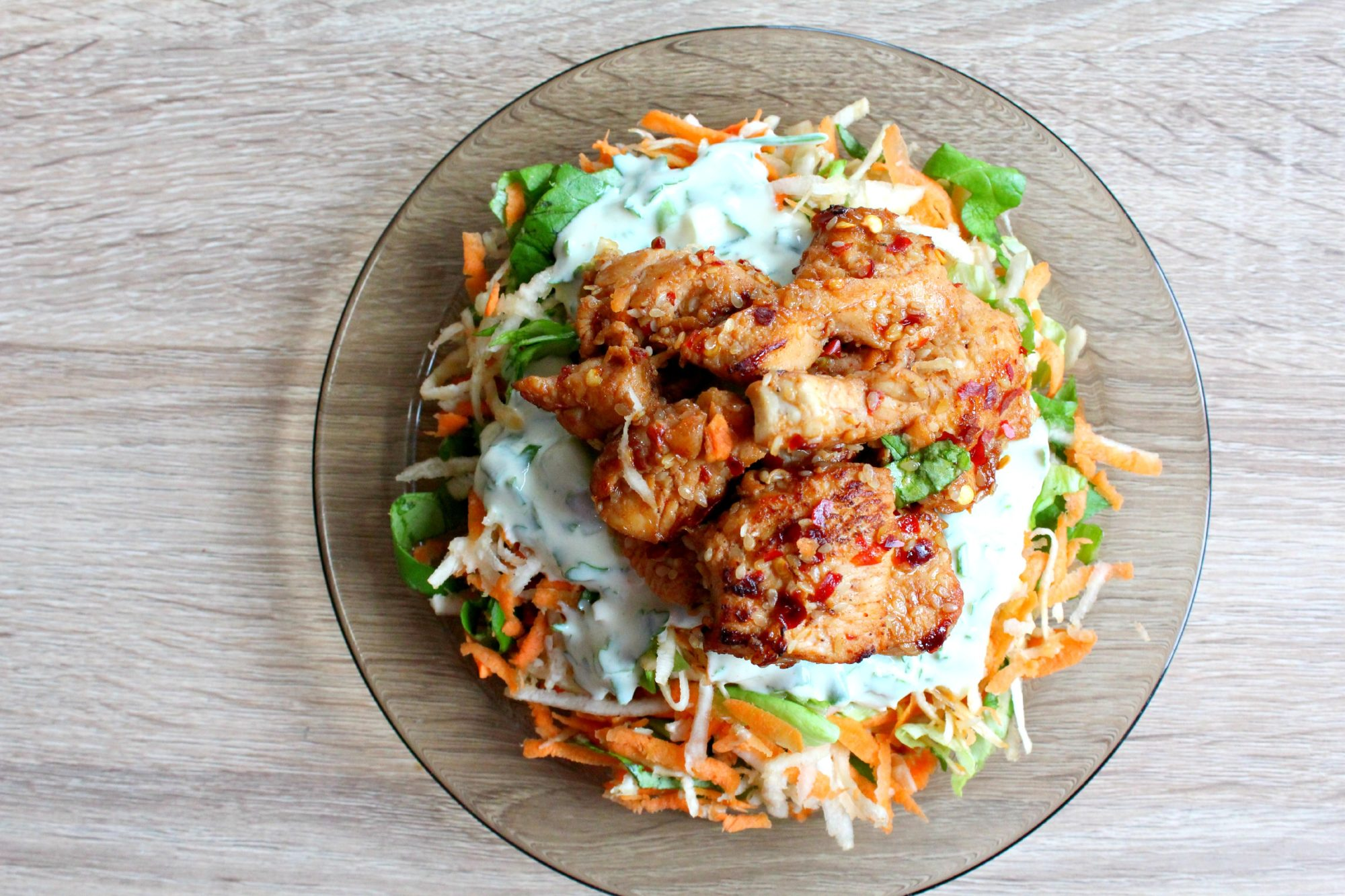 Carrots salad with spicy chicken