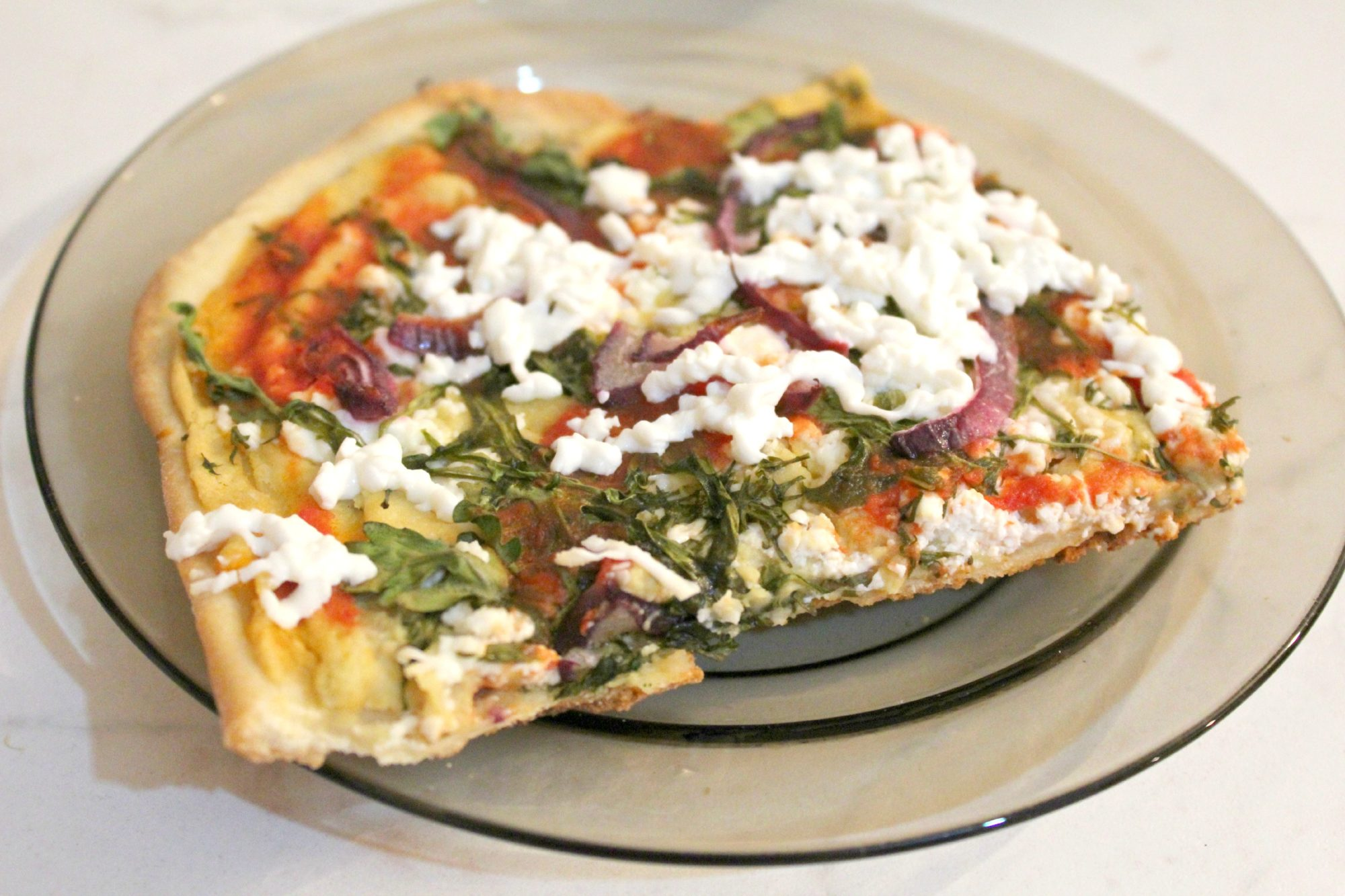 Hummus pizza with feta and arugula - The Seaman Mom