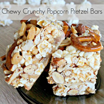 Chewy and crunchy caramel, popcorn, pretzel and mixed nuts bars