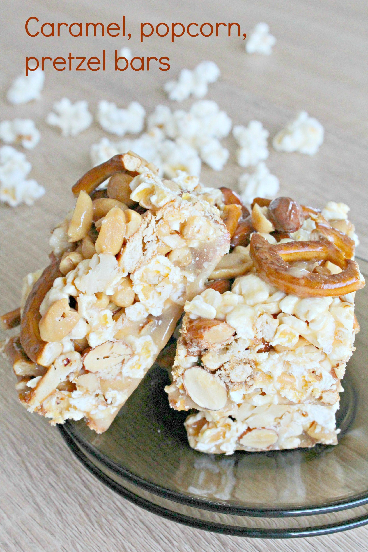 Popcorn pretzel bars