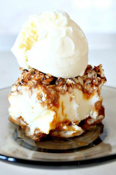 Caramel, Pretzel, peanuts and mixed seeds vanilla ice cream cake