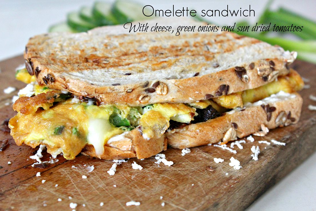Omelette sandwich with sun dried tomato - The Seaman Mom