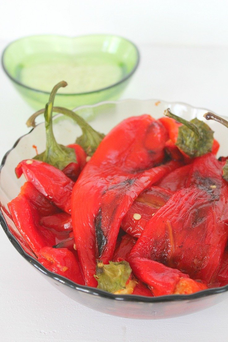 easy way to peel roasted peppers