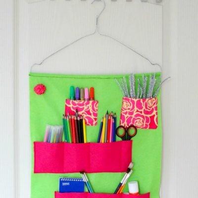 Easy sew School supplies organizer