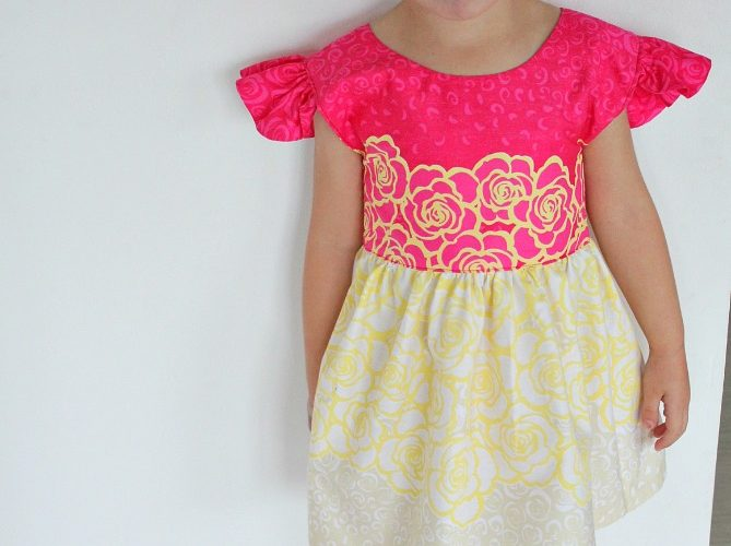 Girls flutter sleeve dress Pattern
