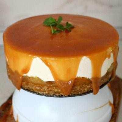 No bake orange apple cheesecake with Cheerios crust