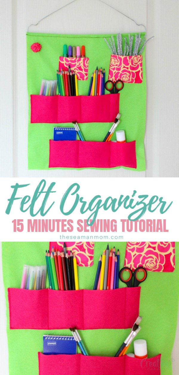 Have you been looking for easy to make school supply storage ideas? This super duper school supplies organizer is sewn with felt in just a few minutes and is the perfect way to get your life back in order! Be ready for any occasion and tidy up with this amazing DIY school supplies organizer! via @petroneagu