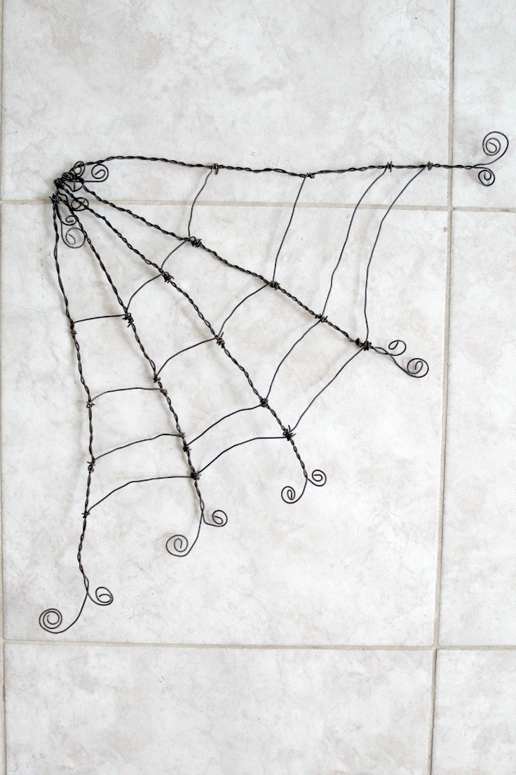 Wire spider web step 16