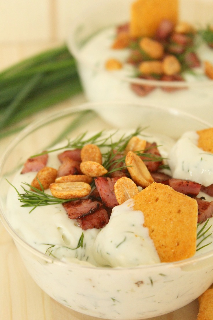Blue cheese bacon dip appetizer