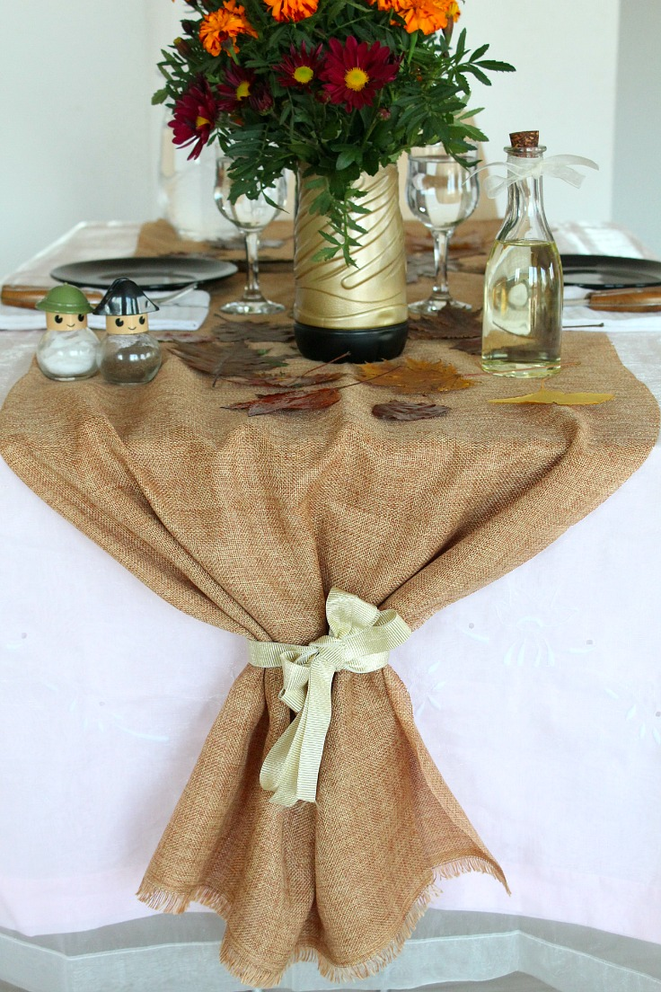 Jute table runner perfect for thanksgiving table settings for Diy jute