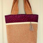 Burlap Color block Tote bag sewing tutorial