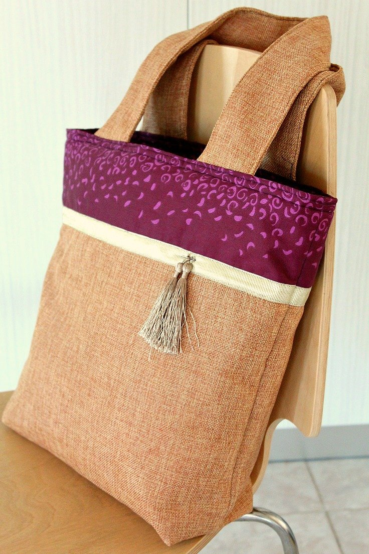 Color block tote bag tutorial