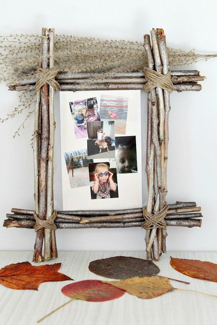 Twig frame craft for unique rustic home decor inspiration cheap and easy twig frame made with twigs twine and glitter spray paint jeuxipadfo Choice Image