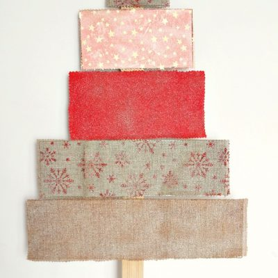 Fabric covered plywood Christmas tree