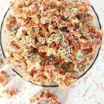 Chocolate sprinkles covered popcorn Christmas treat