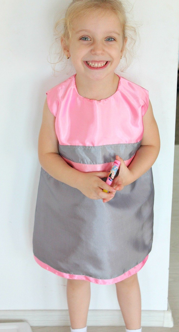 Two toned, sleeveless A line dress pattern for little girls in size 4T
