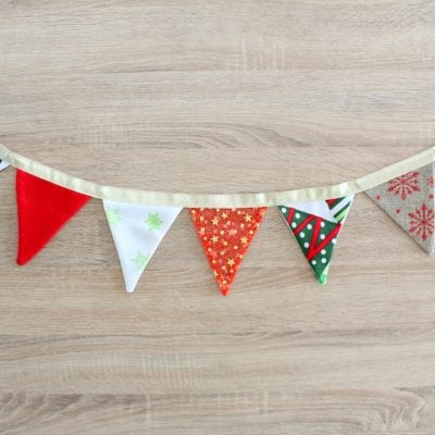 Christmas Fabric bunting sewing tutorial with free template