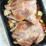 The ultimate Roasted Hen with ham, mushrooms, garlic, lemons and herbs