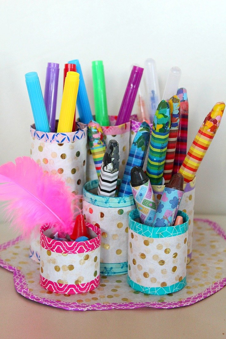 Toilet paper roll organizer out of recycled materials this toilet paper roll organizer is a great project to make with recycled toilet paper tubes jeuxipadfo Choice Image