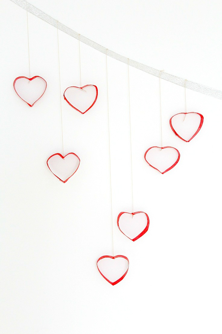 DIY Valentine's day wall decor with toilet paper rolls