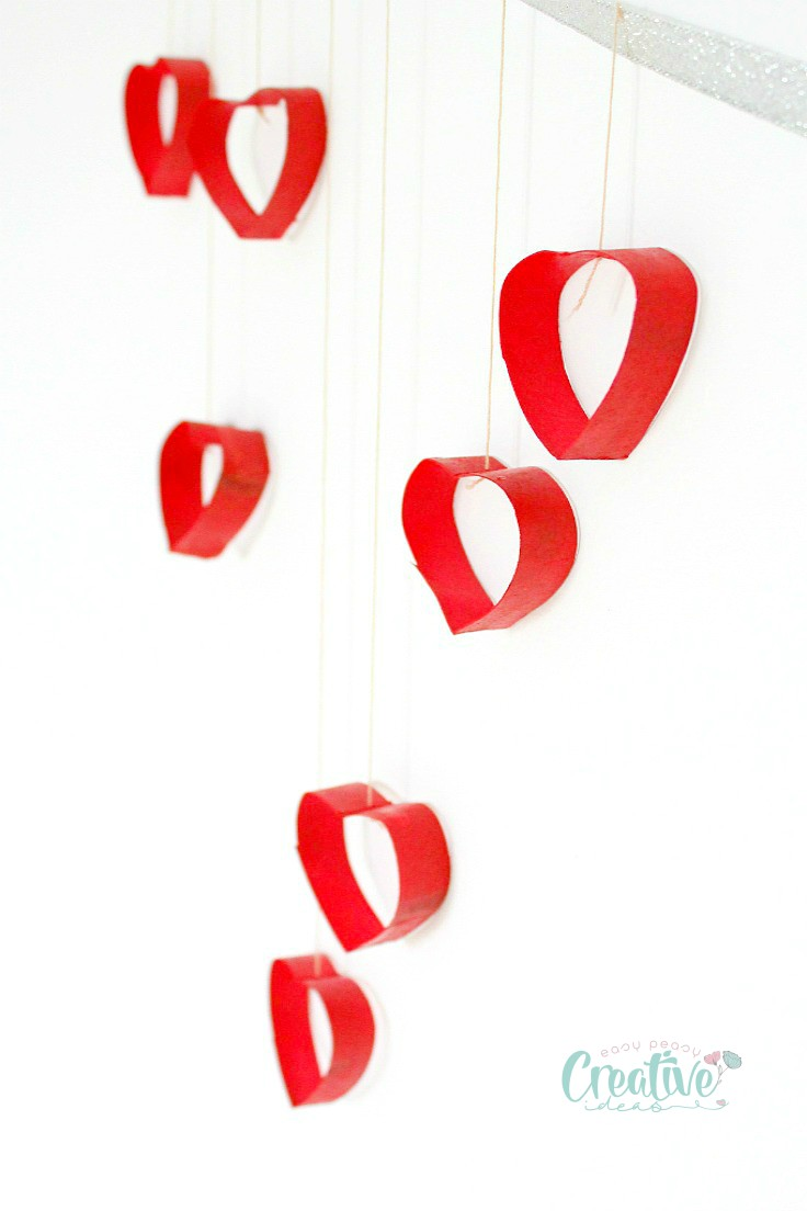 Valentines Day Wall Decorations With Recycled Paper Rolls