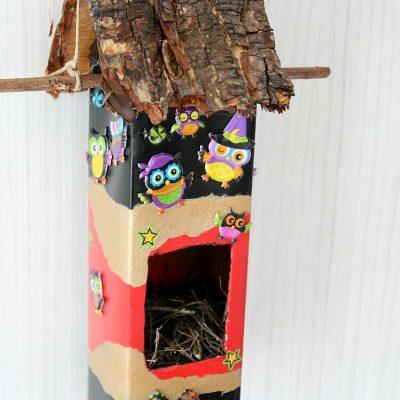 DIY birdhouse out of milk carton