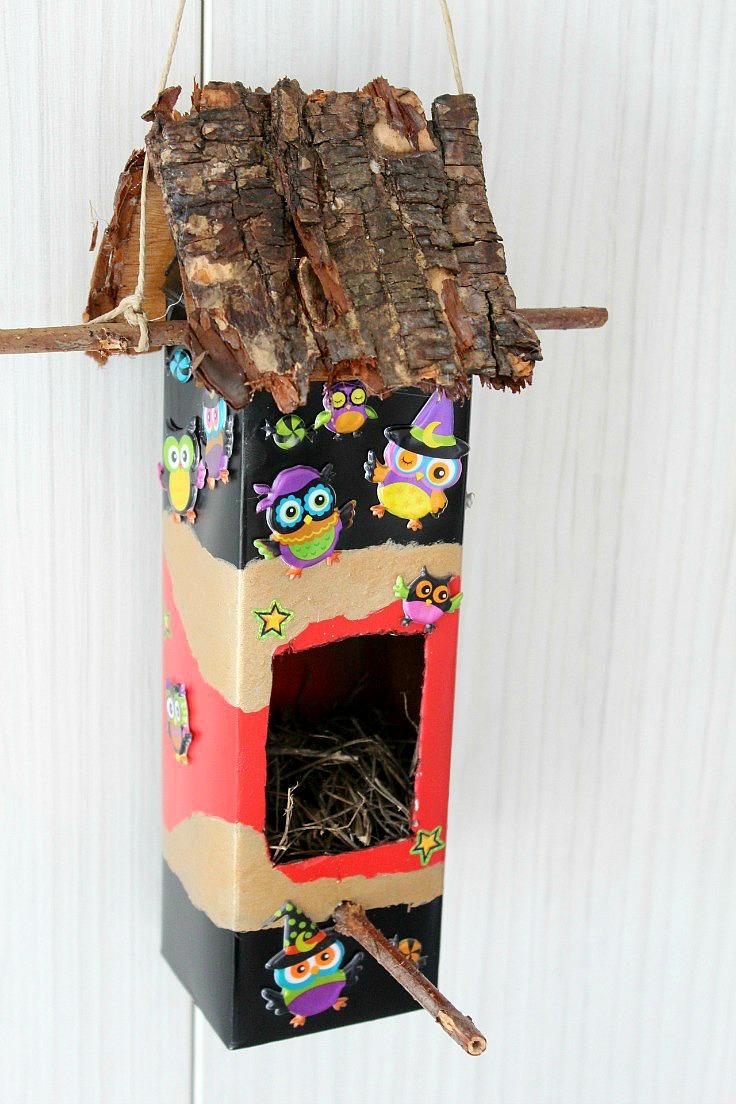 Easy Diy Birdhouse Out Of An Used Milk Carton