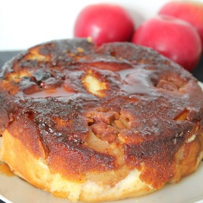 Caramelized upside down apple cake with quince jam & peanuts