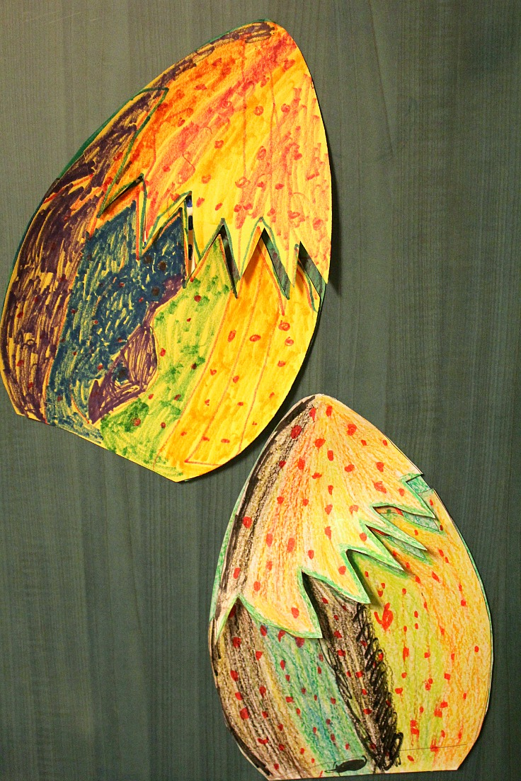 Paper dinosaur egg kids craft