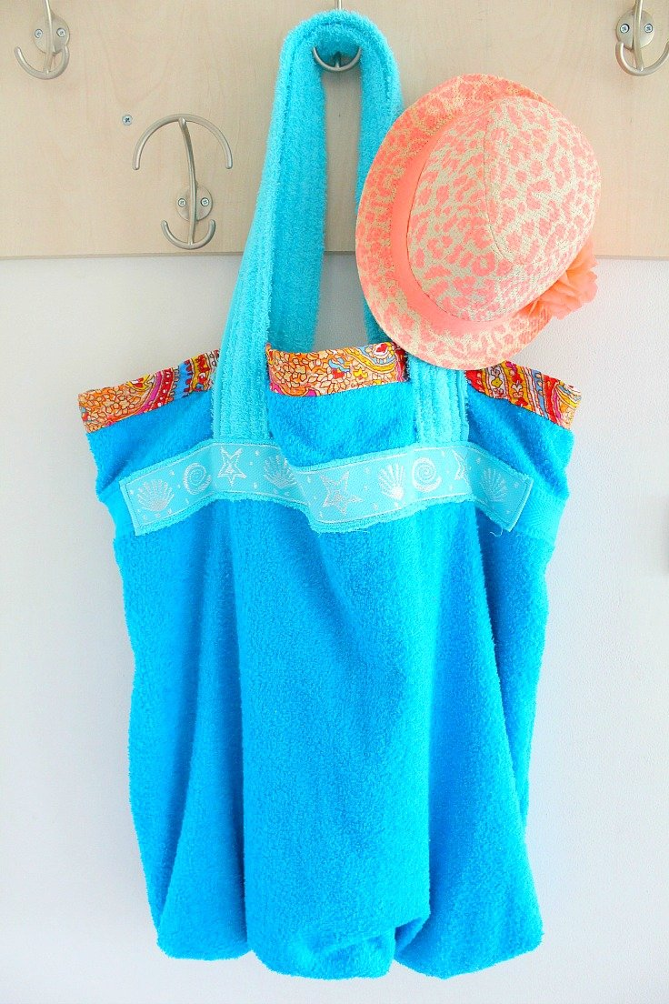 Easy DIY Towel Beach Bag, shared by The Seaman Mom at The Chicken Chick's Clever Chicks Blog Hop