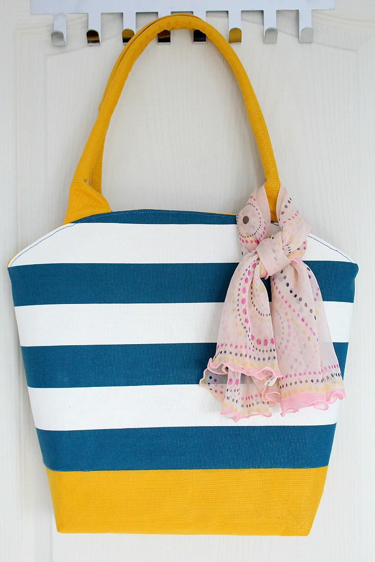 Round Tote Bag Pattern With Corded Bag Handles