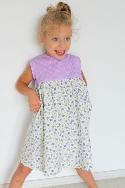 Girls Gathered Dress Free Sewing Pattern
