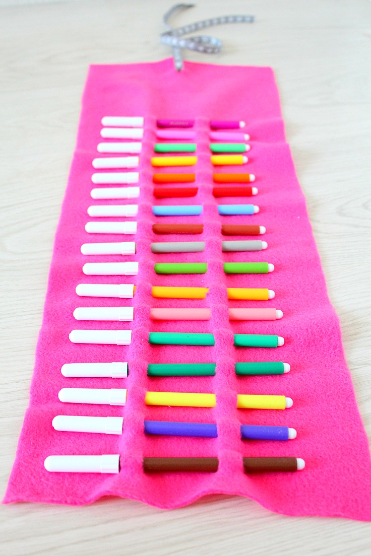 No sew pencil roll