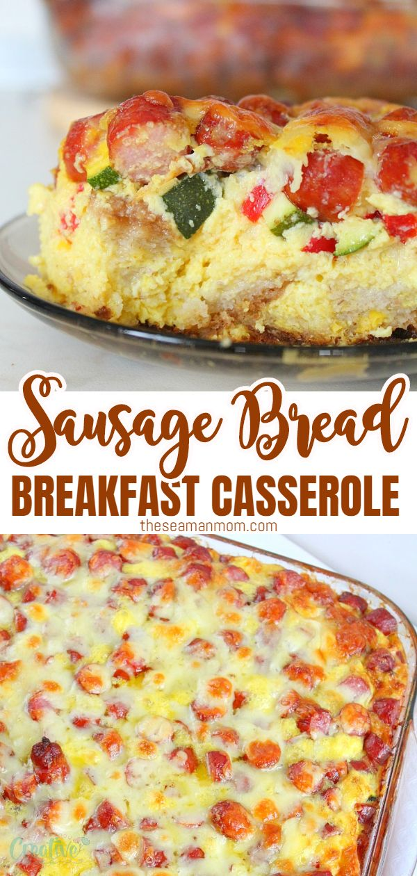 Tender, savory and full of flavors, this sausage breakfast casserole recipe is the perfect combination of eggs, cheese, sausage and veggies on a bed of bread! via @petroneagu