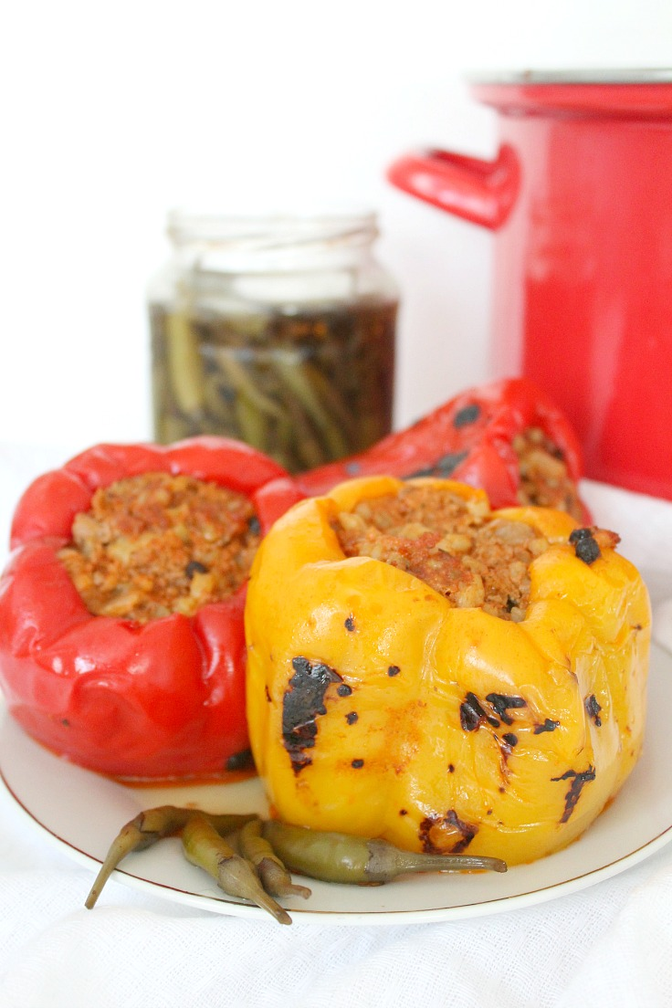 Making stuffed peppers