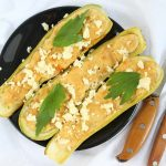 Stuffed Zucchini Boats with Cheese and Garlic