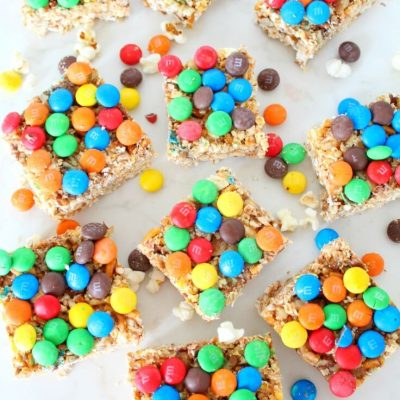 Popcorn, pretzel, walnuts, M&M's bars