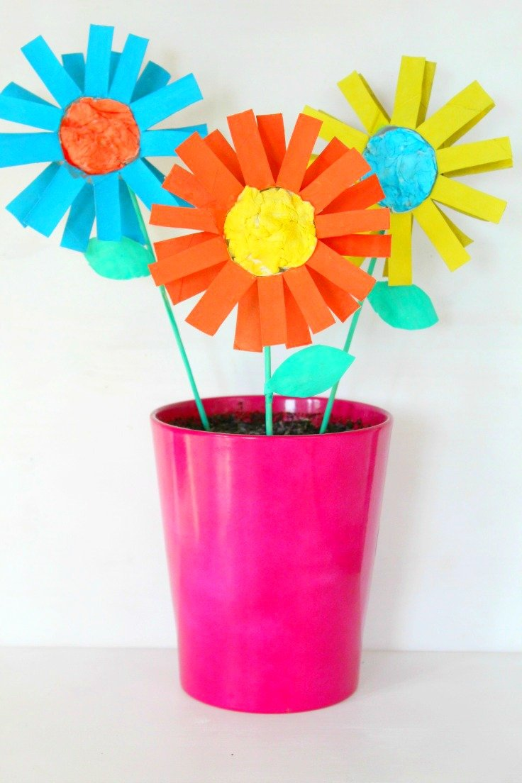 Paper flowers for kids easy craft with toilet paper rolls how to make paper flowers for kids mightylinksfo