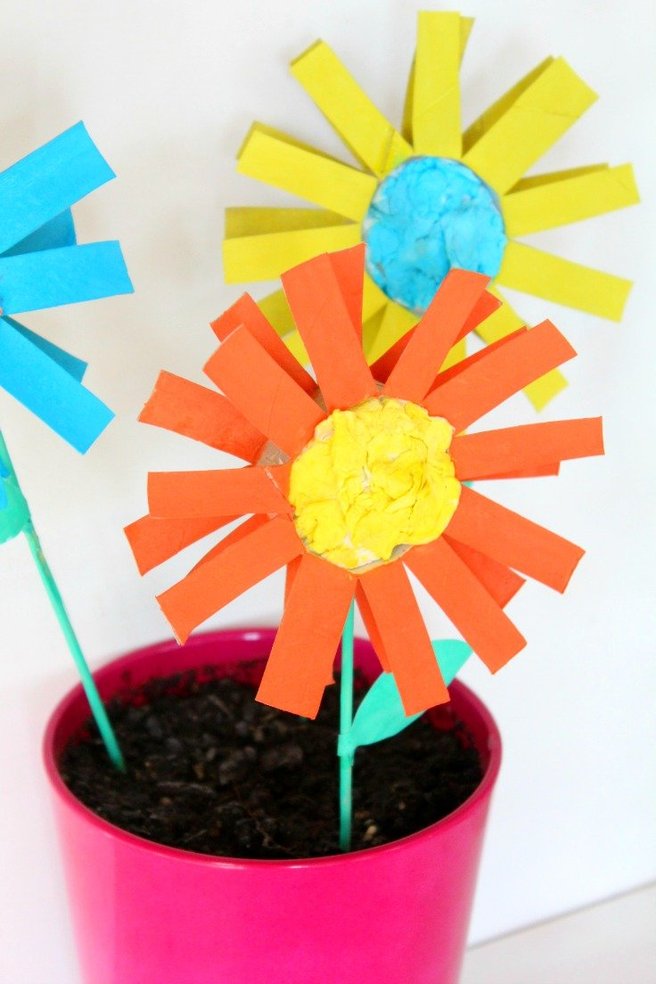 Paper flowers for kids easy craft with toilet paper rolls easy paper flowers for kids mightylinksfo