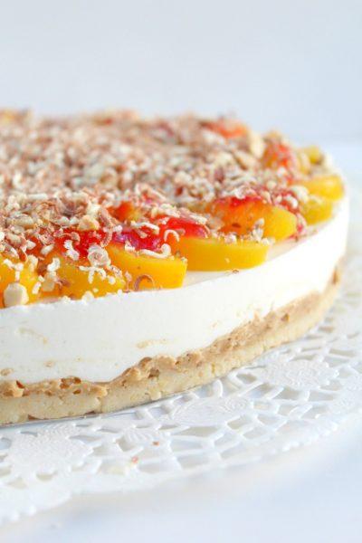 No Bake Peach Melba Cheesecake With Raspberry