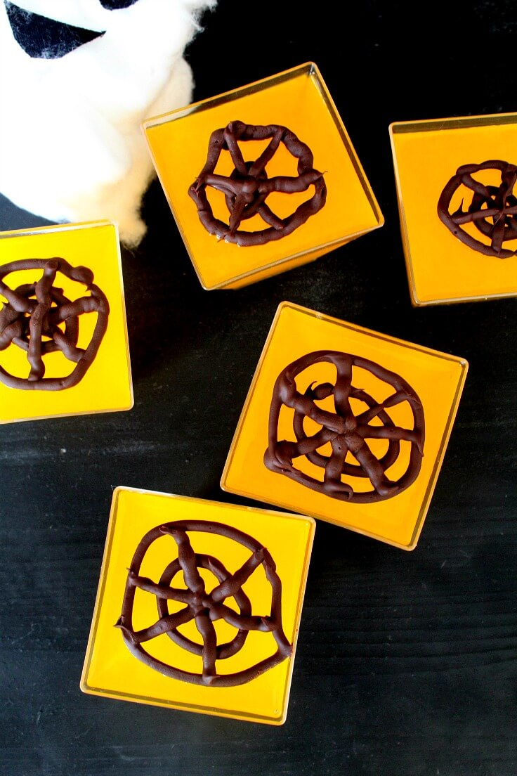 Chocolate Spider Web Jellies with Orange Juice